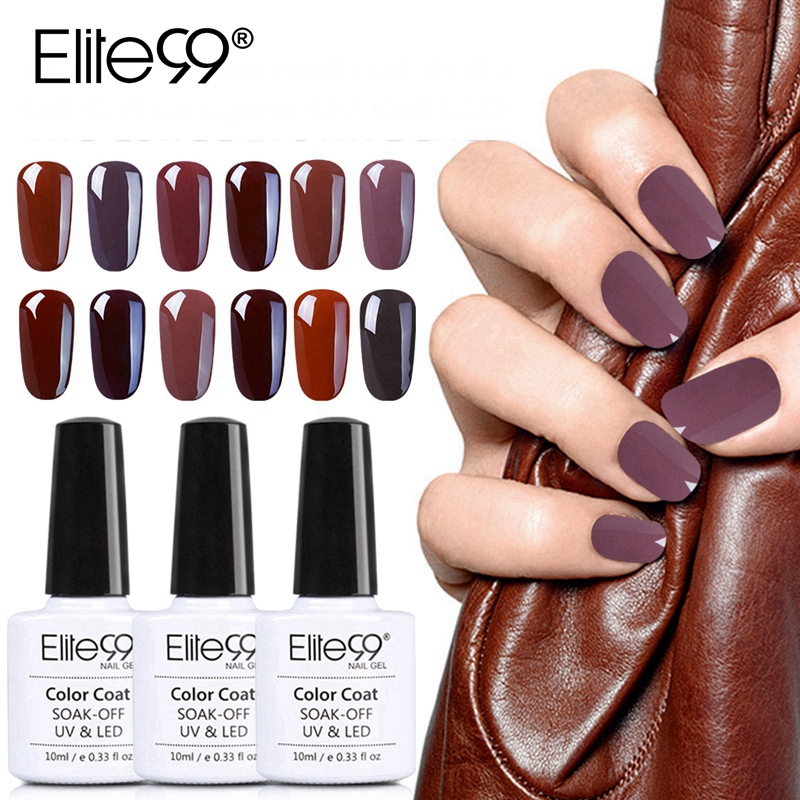 Elite99 10ml Coffee Brown Color Gel Nail Polish Soak Off UV Elegant Chocolate Brown Nail Art Manicure Gel Varnish Lacquer