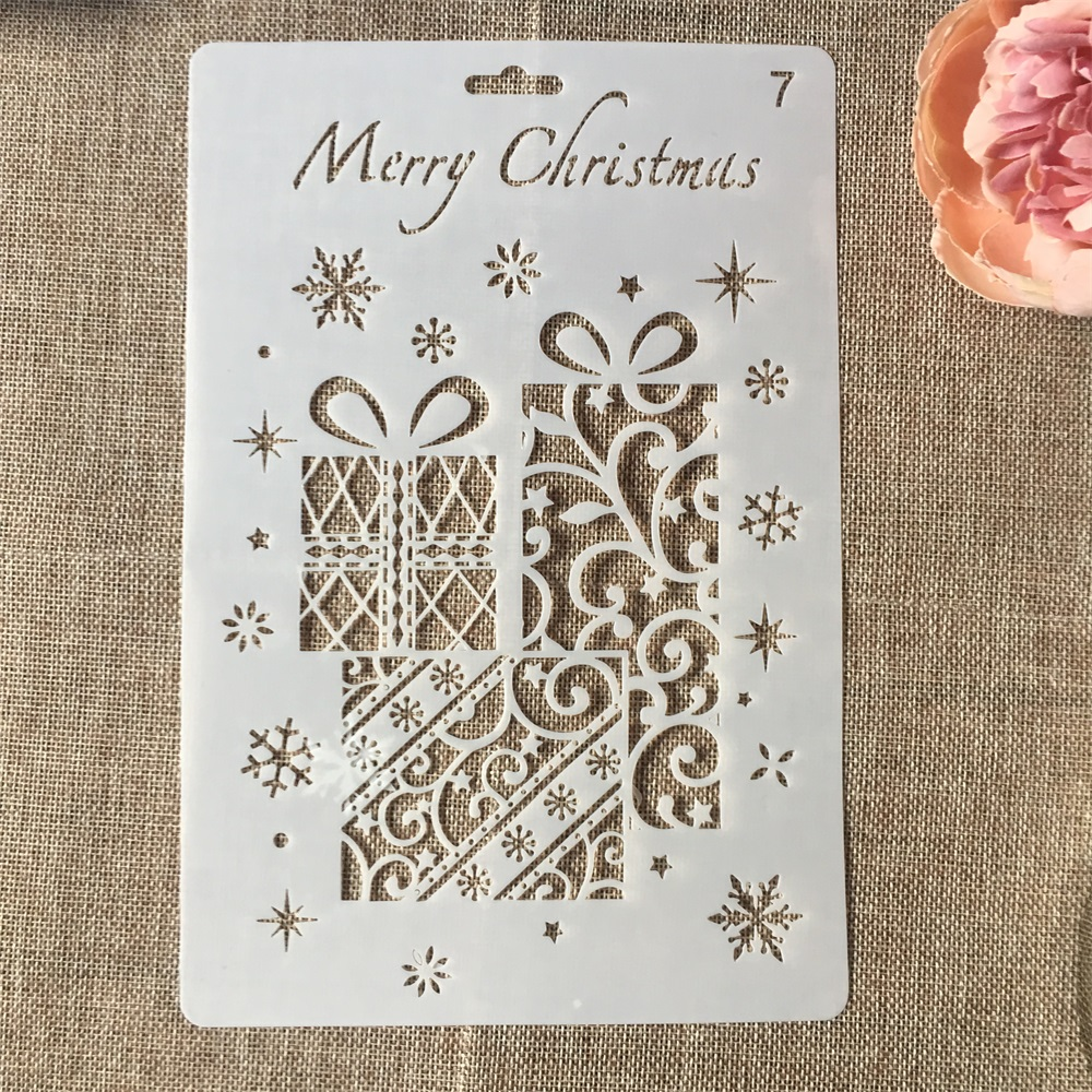 Hot 26cm Christmas Gift Box DIY Craft Layering Stencils Wall Painting Scrapbooking Stamping Embossing Album Card Template