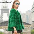 2016 New Arrival Women's Genuine Mink Fur Jackets Real Full Pelt Mink Fur Coats With Striped Cut Short Wave Design Fur Overcoat