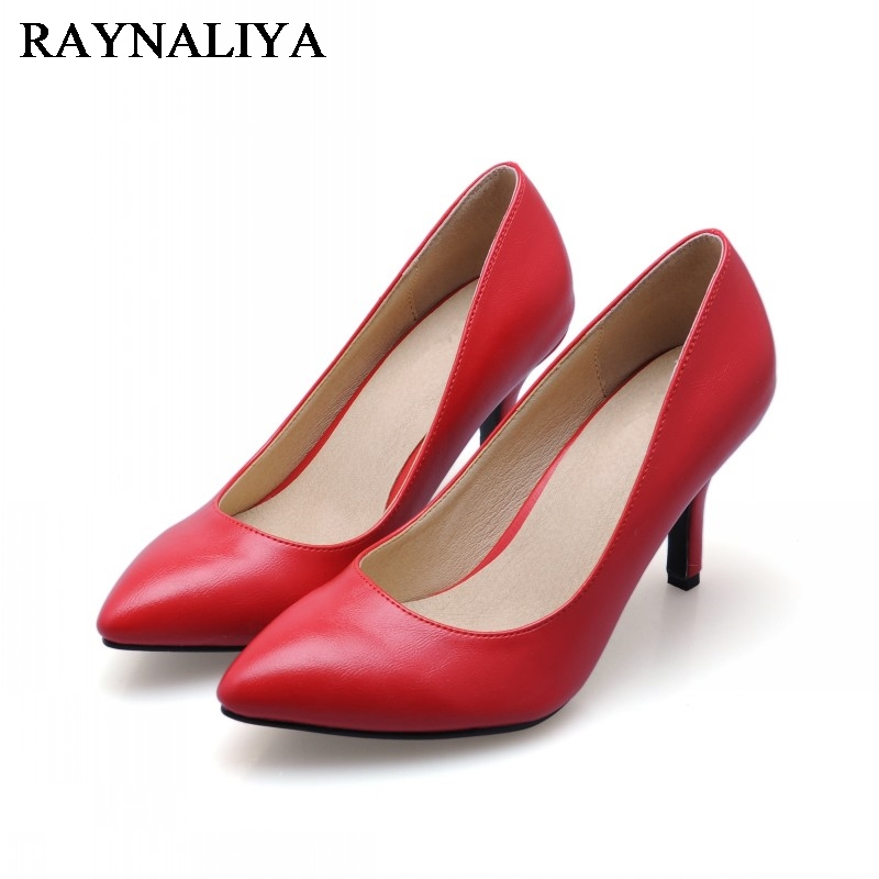 New 2018 Women Genuine Leather High Heels Shoes Sexy Red Bride Party Thin Heel Pumps Pointed Toe Office Shoes Plue Size CN-A0041 big size 40 41 42 women pumps 11 cm thin heels fashion beautiful pointy toe spell color sexy shoes discount sale free shipping