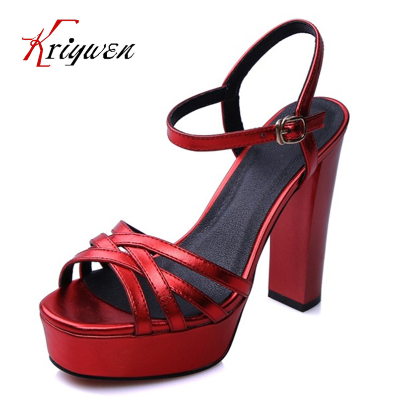 ФОТО Big size 33-40 cow natural leather sandals gladiator party high heels shoes Platform red wedding real leather female cow sandals