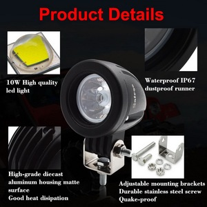 Image 5 - 2pcs Safego 10w led עבודת אור offroad led עבודה אורות ספוט/מבול 12v 24v אופנוע 4x4 טרקטורונים מנוע ערפל אור נהיגה מנורה