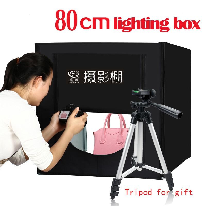 Photo Studio 80*80 cm led Pliant Lightbox Photographie kit de tente Softbox + sac portable + adaptateur ac pour les Jouets de Bijoux Photo shoting
