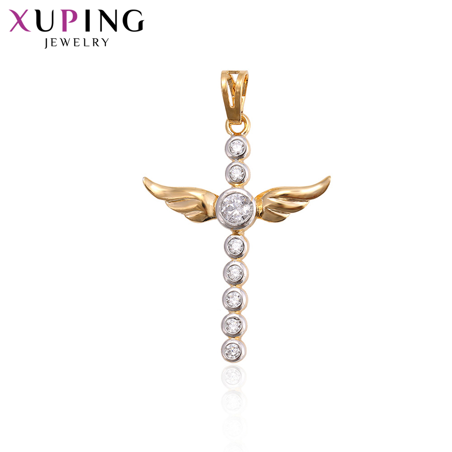 Cheap Sale Xuping Fashion Cross Shape Pendant With Synthetic Cubic Zirconia For Neutral Thanksgiving Jewelry Gifts S72,1-33034