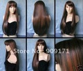 Cosplay long dark brown copper red mixed straight party Wig (B0320)
