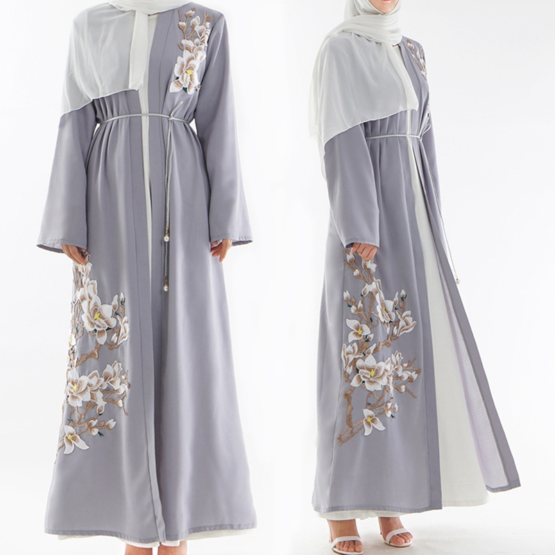 Gray Muslim Abaya Dubai Embroidery Pearls Bangladesh Robe Coat Women Long Cardigan Turkish Islamic Clothing Headscarf 2019 New
