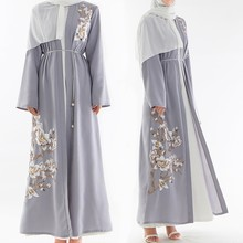 Gray Muslim Abaya Dubai Embroidery Pearls Bangladesh Robe Coat Women Long Cardigan Turkish Islamic Clothing Headscarf 2019 New(China)