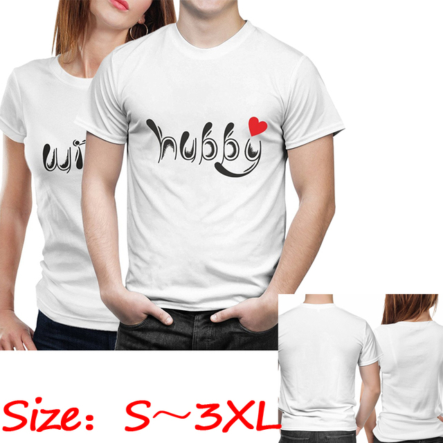 bb0cf9fed1 Hubby Wifey Couples T-Shirts His and Hers Wedding Shirts Honeymoon Romance  Love Marriage Husband Wife Hipster Couples Shirt