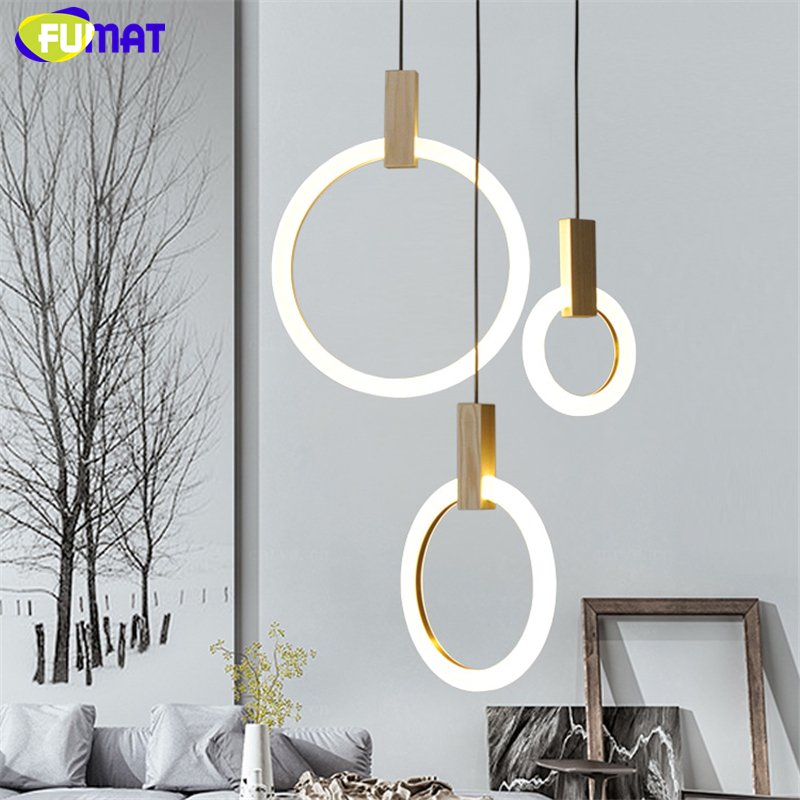 FUMAT Ring Light Fixtures For Stairs Modern Wooden Pendant Lamp Nordic Villa Living Room Dining Room Lamp Indoor Lighting fumat stained glass table lamp high quality goddess lamp art collect creative home docor table lamp living room light fixtures