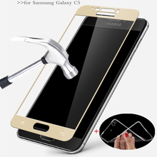 MPCQC 2.5D 9H HD tempered full cowl tempered glass For Samsung Galaxy C5 C5000 C5 PRO display screen protector glass Movie