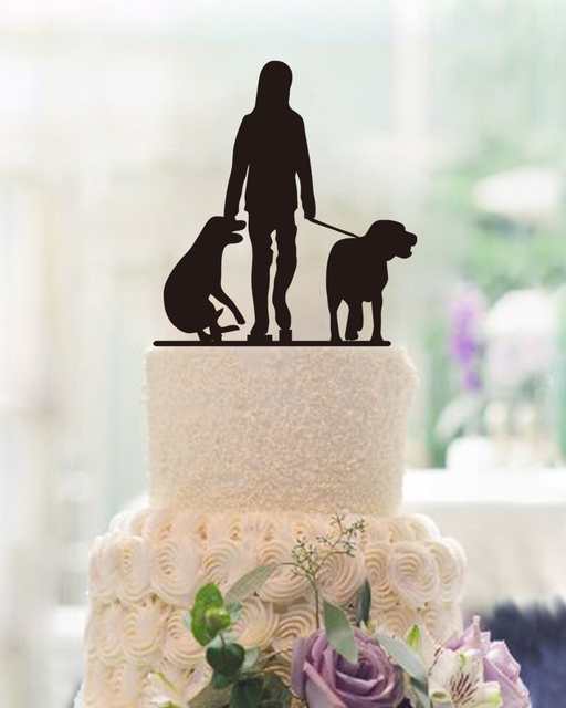 Fashion Cake Topper With Two Dogs Design Personalized Dog Lover Gift Birthday Party Acrylic Toppers Wedding Decoration