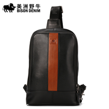 2016 BISON DENIM Brand Men Messenger Bag Cowhide Shoulder Bags Men's Beach Bag Travel Casual Riding Multifunctional Chest Pack