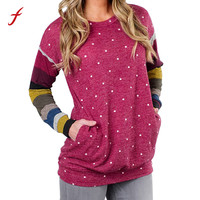 FEITONG Sweatshirt For Women Fashion Polka Dot Striped O Neck Shirt Casual Long Sleeve Pullover Blusa