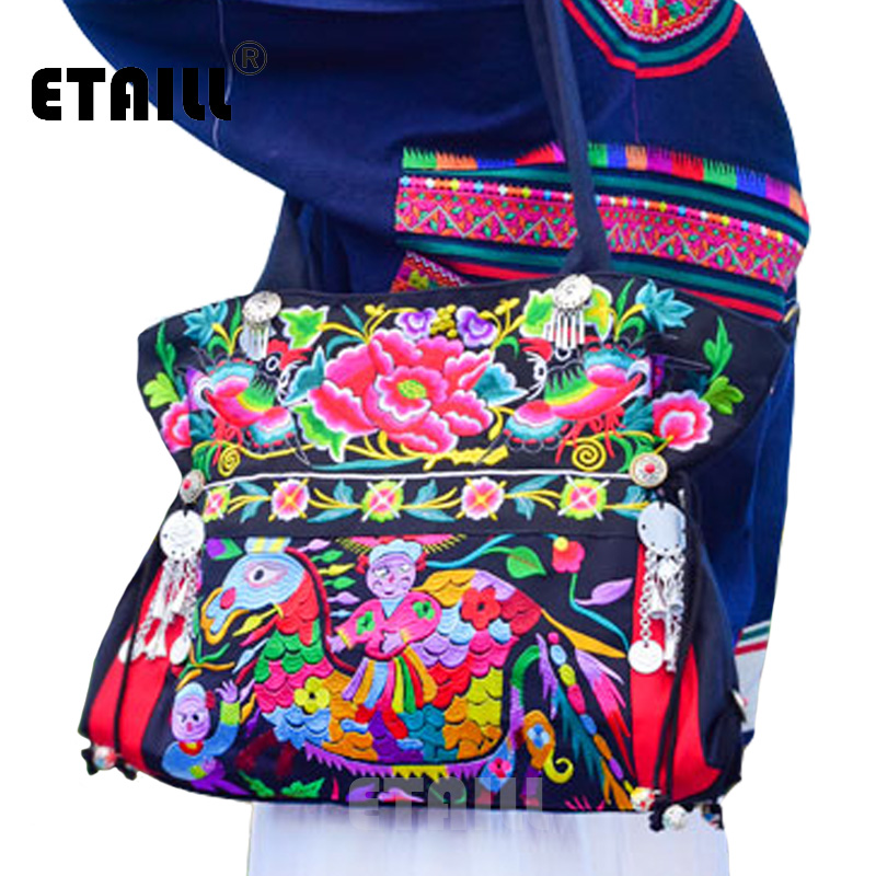 ETAILL National Chinese Hmong Ethnic Embroidered Bags Thai Indian Boho Shoulder Messenger Bag Sac a Dos Femme Bordado Bolsa vintage chinese hmong tribal ethnic thailand indian boho handmade embroidery bell shoulder messenger tote bag sac a dos femme