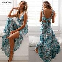 bff61f169bba75 Women Summer Boho Casual Long Evening Party Dress Lady Sexy Sleeveless  Backless V Neck Straps Split
