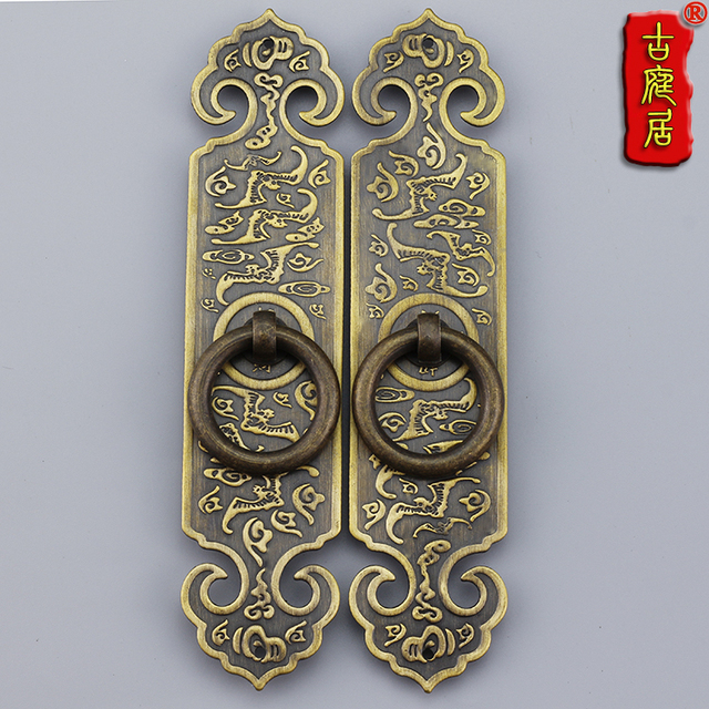 Of Ming And Qing Dynasty Antique Cabinet Copper Flower Bat Straight Handle Door A Thick