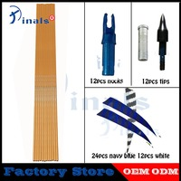 Archery Spine 500 Bamboo Skin Carbon Arrows 5 inch Turkey Feathers Nock Compound Recurve Bow LongBow Hunting