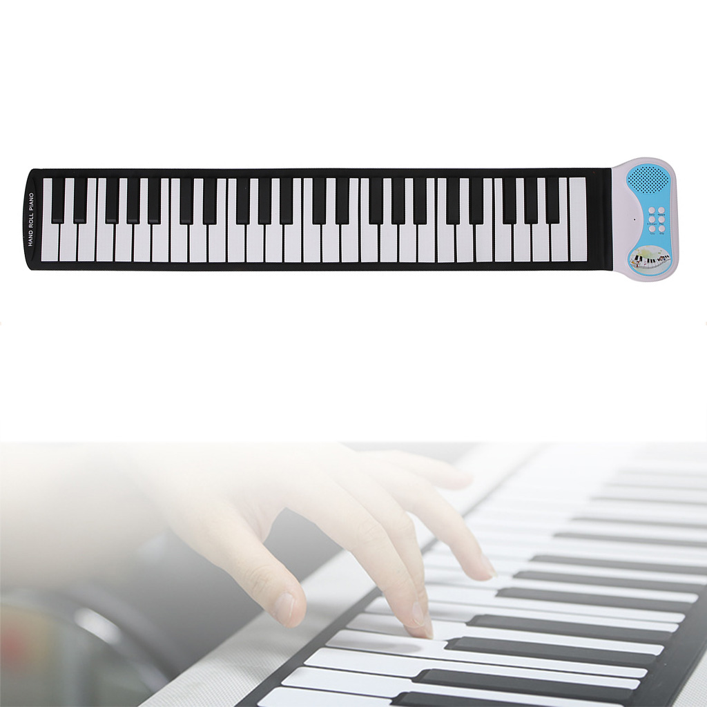 Kids 49 Keys Electronic Piano Silicone Flexible Hand Roll Up Piano Soft Electronic Keyboard