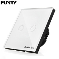 FUNRY EU Standard 2 Gang 1 Way Touch Switch Fireproof Crystal Glass Panel Plate Led Sensor