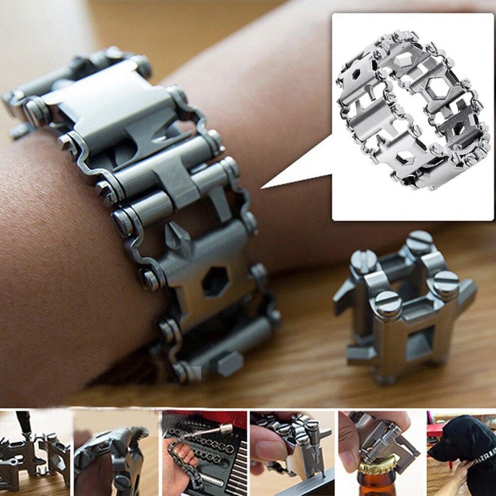 Punk Style En Acier Inoxydable Extérieur 29 Sortes Multi-fonctionnelle Bracelet En Acier Inoxydable Potable Outil de Poche pour le Camping Randonnée