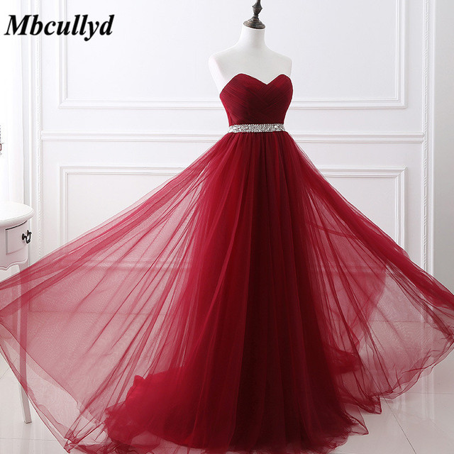 Mbcully Sweetheart Backless Bridesmaid Dresses 2019 Dark Red Wedding Party  Dress Stunning Beaded Maid of Honor Gowns Cheap Sale d2844e15356b