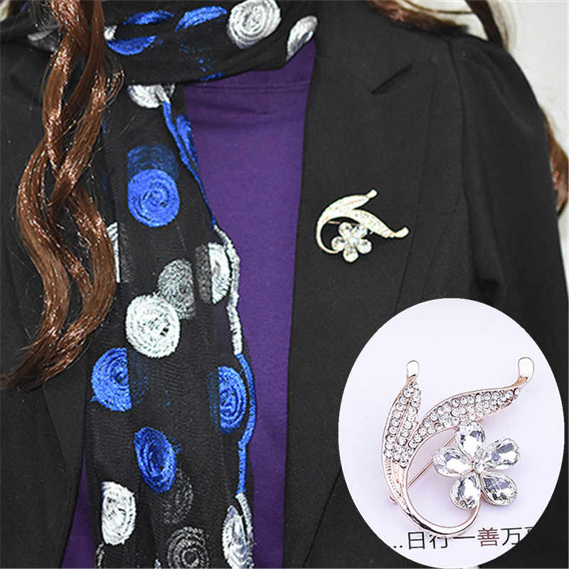 Kaca Kristal Bunga Bros Sweater Aksesoris Pin Syal Syal Selendang Gesper untuk Wanita
