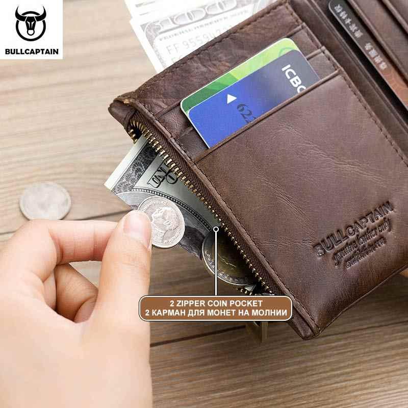 BULLCAPTAIN мужской кошелек из натуральной кожи RFID кредитная и визитная карточка держатель двойная молния воловья кожа кошелек Carteira 021