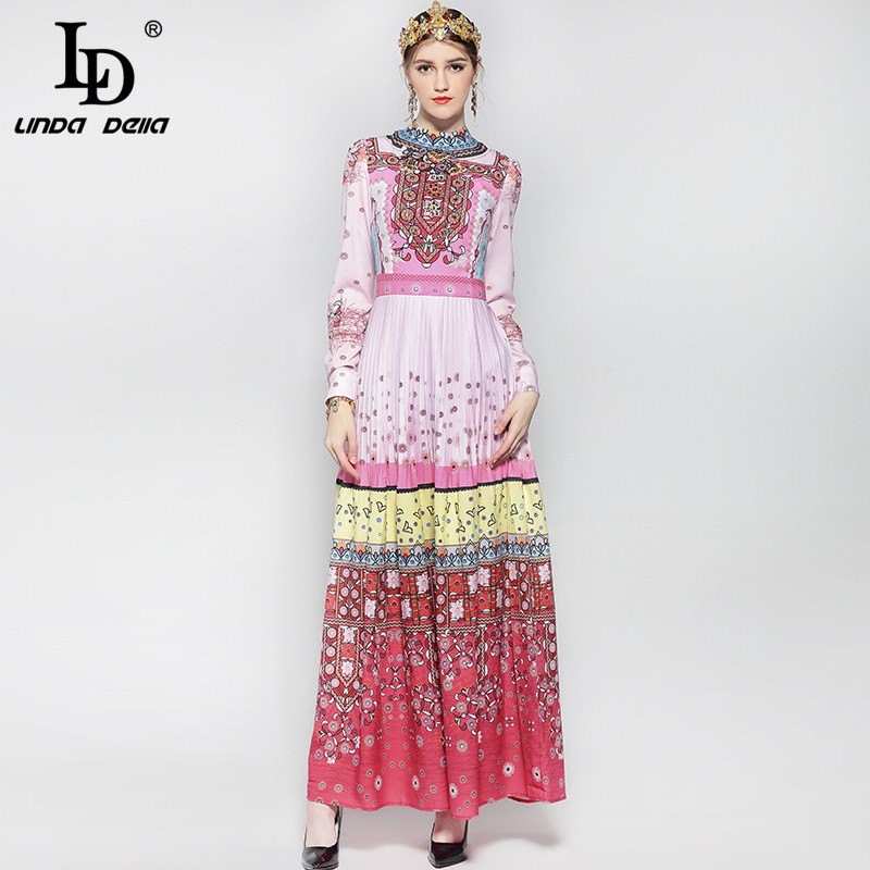 Fashion Runway Maxi Dress Womens Long Sleeve Noble crystal Beading Elegant Holiday Boho Pleated Floral Print Vintage Long Dress
