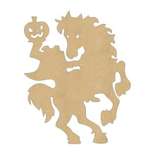 10pcs laser cut wood wooden headless horseman shape diy craft gift tag happy halloween decorations