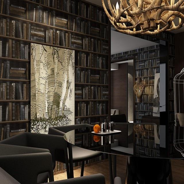 Free Eigenschaften 3D Simulation Bücherregal Tapete Klassischen  Amerikanischen Retro Wohnzimmer Flur Studie Hintergrund Wand Papier