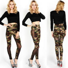 2017 Hot Trousers Camo W Leggings Skinny Cotton Mesh Inset Pants Army Military Women Leginy Capris Gaiters