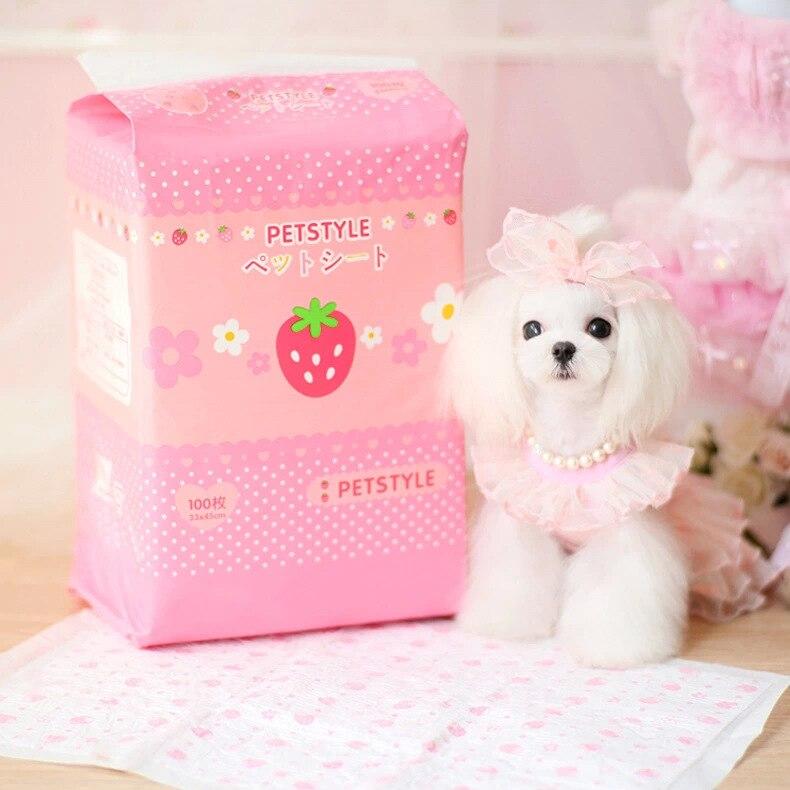 Nouveauté fraise bande dessinée couches absorbant pet chien pad chiot chat couches chien intérieur toilettes formation coussinets fournitures pour animaux de compagnie