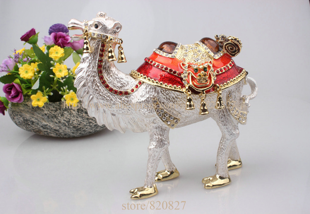 Big Standing Bejeweled Collectible Trinket Jewelry Box Desert Handmade Metal Jeweled Jewelry Box Case