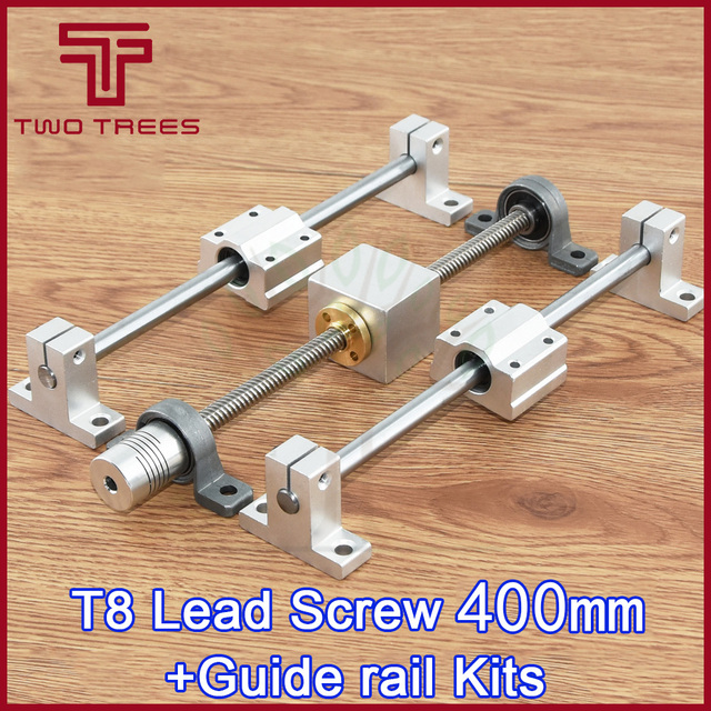 3D Printer geleiderail sets T8 Lood schroef lengte 400mm + lineaire as 8*400mm + KP08 SK8 SC8UU + moer behuizing + koppeling + stap motor