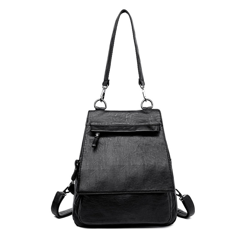 Soft Leather Backpack Women Rucksack Multifunction Shoulder Backpack Female Fashion Bagpack Girls School Bag Travel Backpack in Backpacks from Luggage Bags