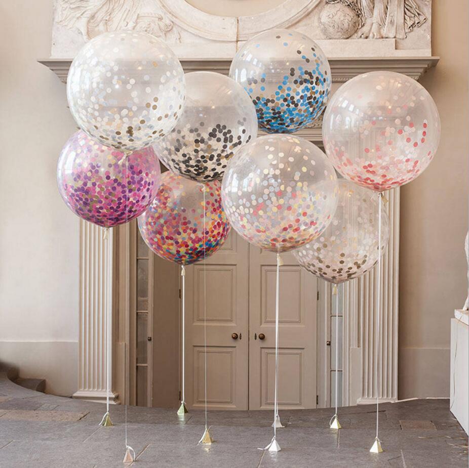 10Pcs 12inch Confetti Latex Balloon Balloon Romantic Wedding Decoration Gold Clear Confetti Balloons Birthday Party Supplies