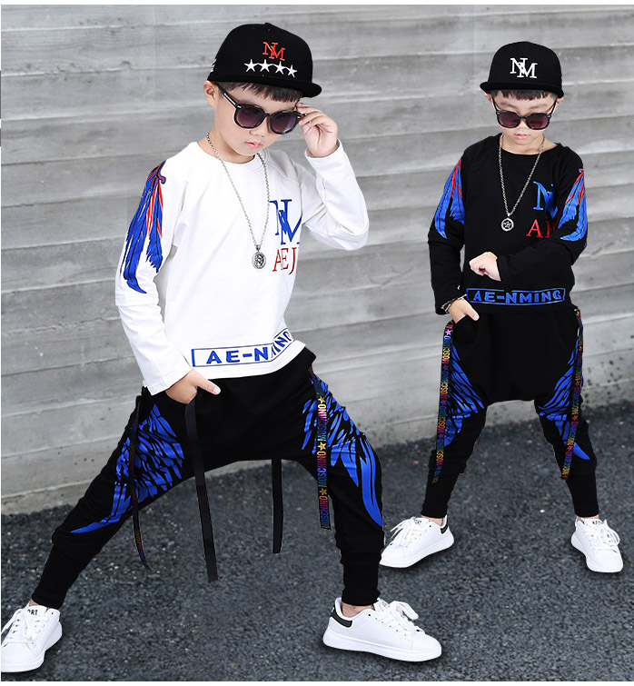 110 -160cm Jazz Dance Costumes For Kids Boys Hip hop Wings Sweater Harem Pants 2pcs Children Cotton Clothing Sets For Teenagers телевизор lg 43uj651v серебристый