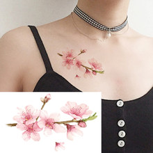 Colored fashion waterproof temporary tattoo sticker women sex flash fake tatoo tatto henna red blossom flower tree XL59(China)