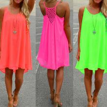 Лидер продаж; Пикантные женские летние шифоновое платье на бретелях