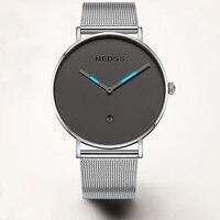NEDSS Новый DW стиль Для мужчин Тритий газа роскошные часы Для мужчин часы Нержавеющаясталь сетка группа кварцевые наручные часы моды случайн