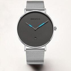 NEDSS New DW style men tritium gas Luxury Watch Men's Watches Stainless Steel Mesh Band Quartz Wristwatch Fashion casual watches