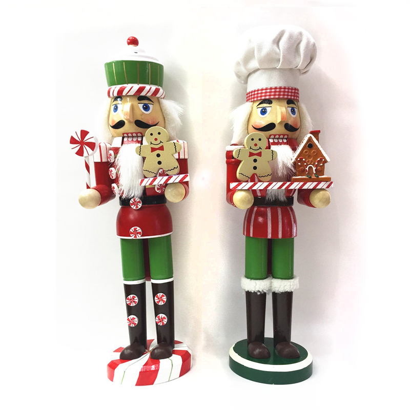 HT125 free shipping Action & Toy 38cm Gingerbread Chef Nutcracker Puppet Combination Children Christmas Toys Gift free shipping 12cm new wooden cartoon candy people european and american wind puppet christmas nutcracker doll child gift