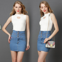 New Spring Women Sexy Mini Denim Skirts Casual High Waist Embroidery Plus Size Above Knee Short Slim Buttock Skirt for Female