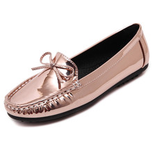 New Women's Flats 2016 Breathable Metal PU Bow Women Boat Shoes Slip on Loafers Mother Flat Shoe N3692