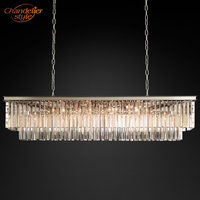 1920s Odeon Clear Glass Fringe Rectangular Crystal Chandelier Lighting Pendant Hanging Light Hotel Living Dining Room Lighting
