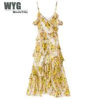 Австралийское модное платье спагетти 2019 летние уникальные дизайнерские Роскошные Многослойные оборки желтые пляжные платья в цветочек