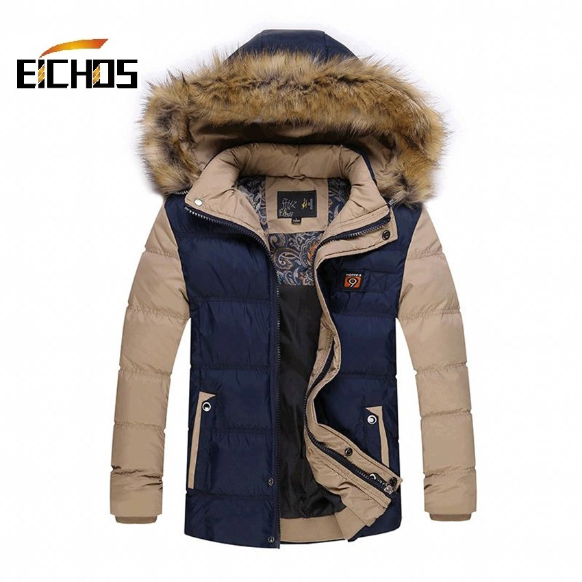 ФОТО Youth Boys Winter Coats New Hooded Detachable Winter Men Slim Student Style Shorts Thick Fur Collar Down Jacket Yellow/White/Red