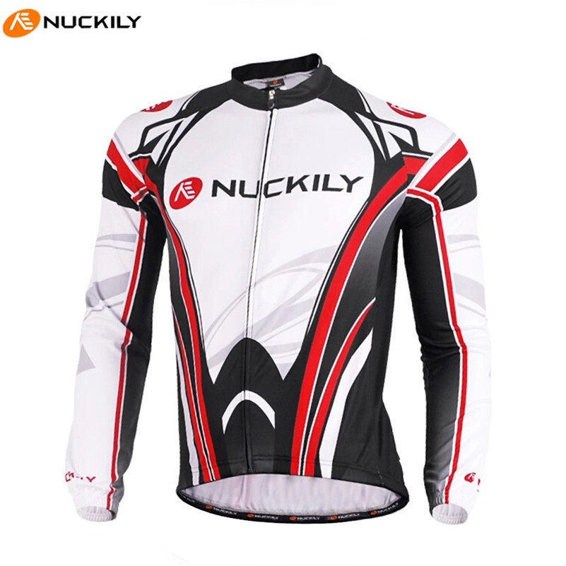 NUCKILY Men Cycling Sport Jersey Long Sleeve Stand Collar Stitching Windproof Thermal MTB Bike Bicycle Jerseys Clothes Winter slimming stand collar rib splicing letter and geometric print long sleeve jacket for men