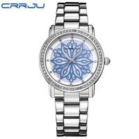 2016 New Fashion CRRJU Watch Women Dress Watches Rose Gold Full Steel Analog Quartz Women Ladies