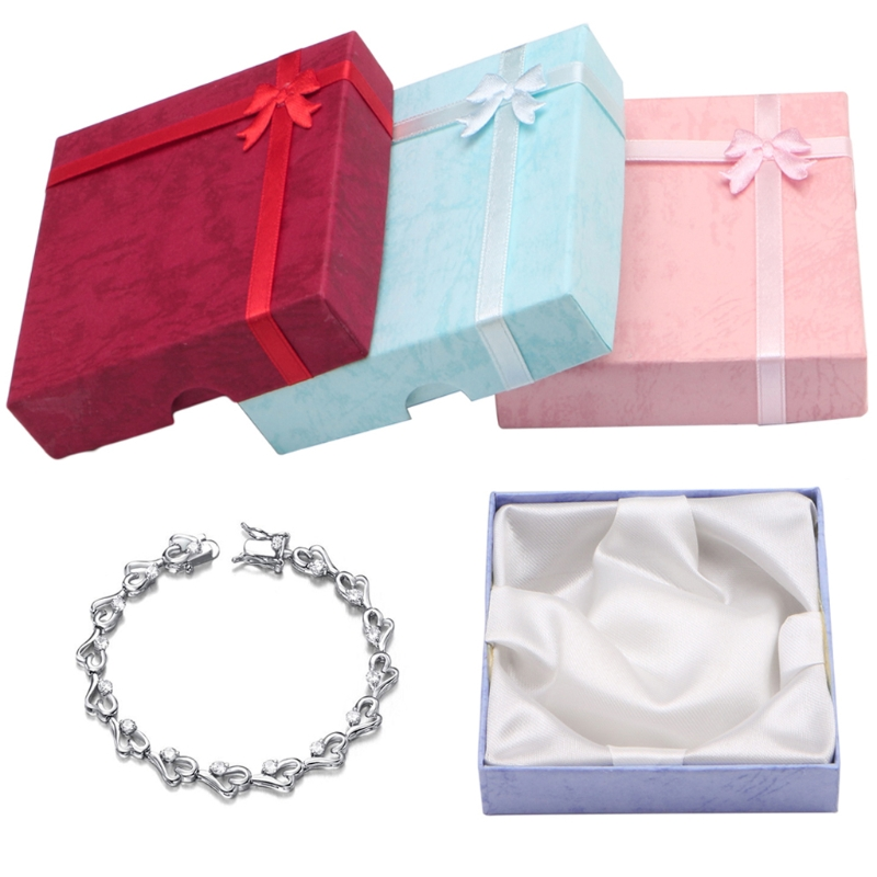 New Square Package Bowknot Jewellery Necklace Bracelet Present Gift Box Case